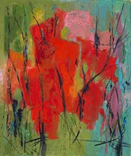 Artisoo Red Abstraction - Oil painting reproduction 30'' x 25'' - Alma Woodsey Thomas