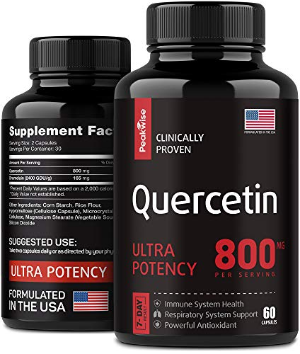 Quercetin Capsules 800 MG - Quercetin with Bromelain Supplements - Quercetin Pure Encapsulations - Anti-Inflammatory Immune Support & Health Boost - Pure Quercetin & Bromelain Antioxidants