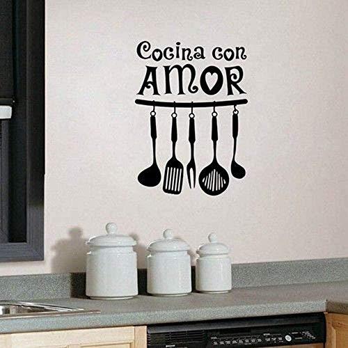 Muurstickers Art Decal Vinyl Murals Spaans voor Keuken Woorden Lepel Spatel voor Thuis Roze 42X57 cm
