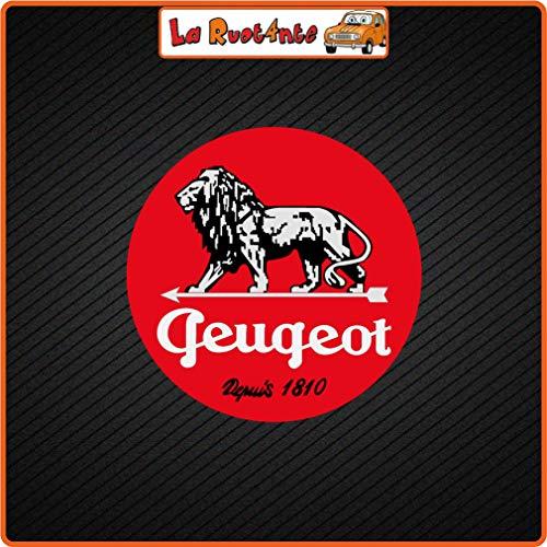 La Ruotante 2 stickers Peugeot Since 1810 (Vinile) Auto Moto Vespa fietshelm 6x6 Cm