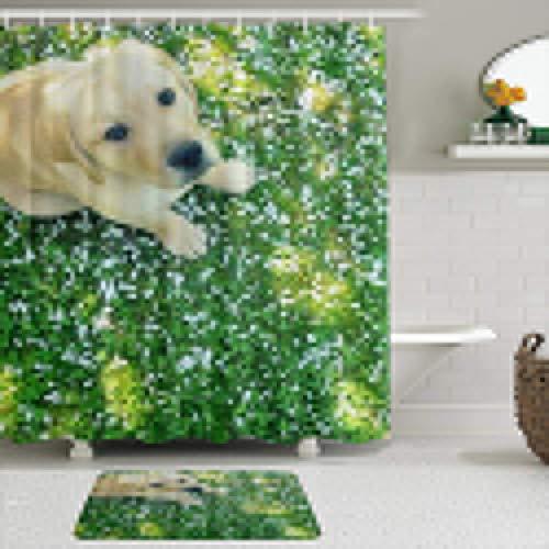 KISSENSU Cortinas con Ganchos,Labrador Retriever Perro canino Sentado en el césped,Cortina de Ducha Alfombra de baño Bañera Accesorios Baño Moderno