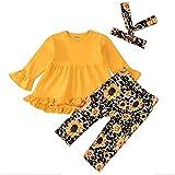 Baby Mädchen Kleidung Outfit Stricken Langarm Rüschen Top Babykleidung Mädchen Set Einfarbig...