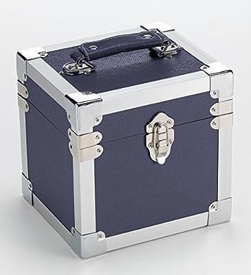 Steepletone SRB07GL CD and 7-Inch Vinyl Singles Retro Style Storage Carry Case (Blue)