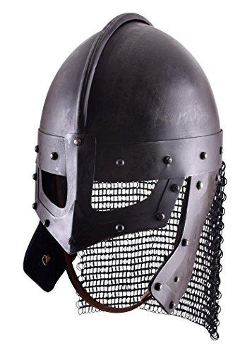 Epic Armoury Raven Helm aus Stahl Brillenhelmen Wikingerhelm Dekohelm schaukampftauglich Ritterhelm LARP (Brüniert/L)