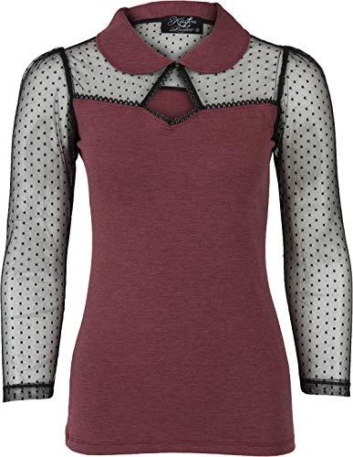 Küstenluder Damen Oberteil Thela Polka Dot Spitze Shirt (2XL, Beere/Schwarz)