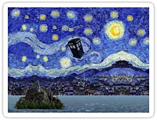 Chili Print Starry Night Inspiration Hogwarts Harry Potter Dr Who Tardis - Sticker Graphic Bumper Window Sicker Decal - Doctor Who Dr Who Sticker