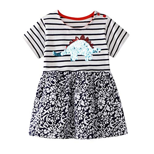 Baby Mädchen Gestreift   Dinosaurier   Blumen Drucken Kleid, KIMODO® Kleinkind Pailletten Sommerkleid Lässig Kleidung Outfit