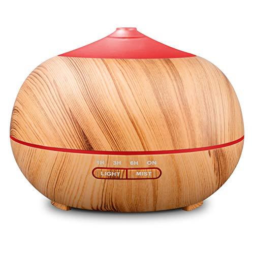 400ml Ultraschall-Luftbefeuchter, Aroma Diffuser für ätherische Öle mit Holzmaserung