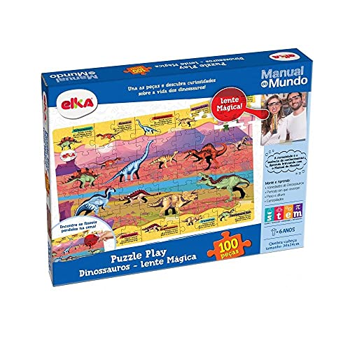 Puzzle Play Dinossauros 100 peças Lente Mágica - Manual do Mundo, Elka, Colorido