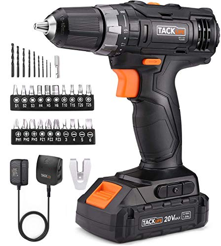 TACKLIFE Cordless Drill Driver 20V, 265 in-lbs, 32 pcs Accessories, 19+1 Clutch, 2-Speed Setting, 3/8'Metal Chuck, 1.5Ah Lithium-Ion, Compact Battery Cell and Charger Included, Drill with LED -PCD06B