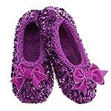 Snoozies Womens Slippers - Luxe Bling Ballerina - Purple - Medium