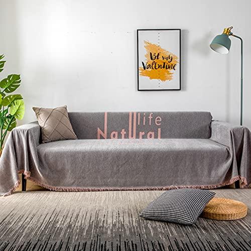 HIOD Manta de Sofá Antideslizante de Chenilla con Estampado de Vida Natural para 1/2/3 Asiento Protector de Muebles de Sofá Toalla de Tiro de Sofá,Gray,70.9''x78.7''