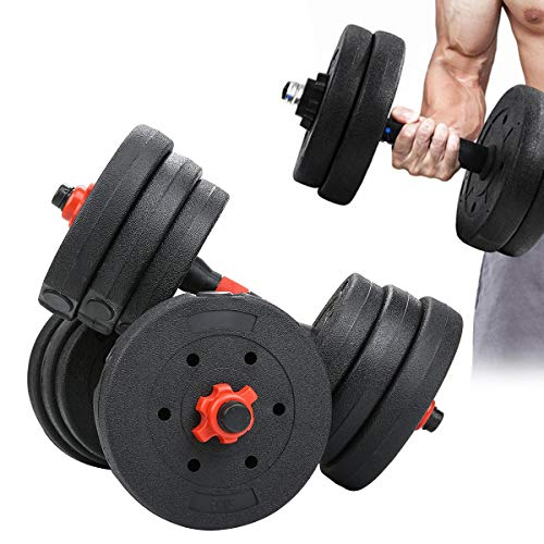 hfghsgjbgd 20kg Adjustable Dumbbell Set, Rubber Weight Lifting Dumbbell Set with Connecting Rod, Lifting Training Dumbbell Set for Men and Women Body Workout Gym