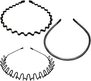 3PCS Metal Hairbands, Black Fashion Spring Headband for Men & Women,Unisex Elastic Sports Wide Hair Band Hoop Clips Access...