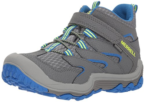 Merrell Kids' Unisex M-Chameleon 7 Access Mid A/C Wtrpf Hiking Shoe, Grey/Blue, 13 Medium US Little Kid