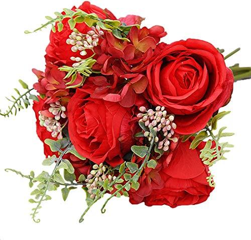 Calcifer 30 x 22 cm handgjord brittisk stil brud bröllop blommig brudtärna som håller bukett arv konstgjorda rosblommor hortensior (Röd)