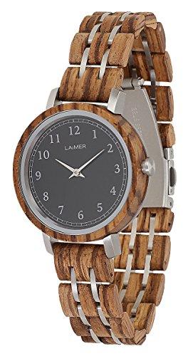 LAiMER 0089 - ELLY, Orologio analogico da polso al quarzo,con cinturino in legno Zebrano, marrone, donna