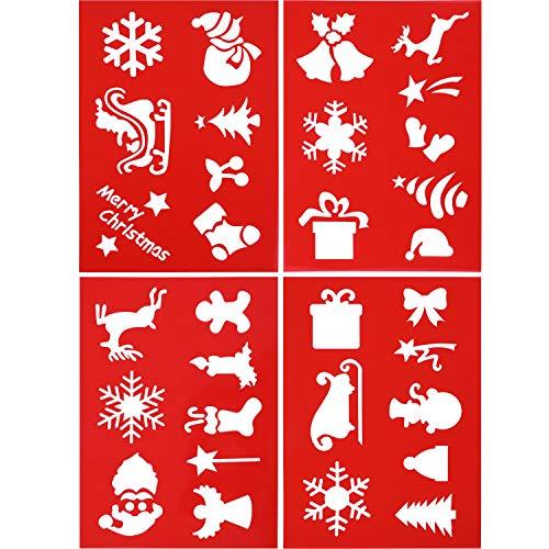 4 Pezzi Natale Stencil Riutilizzabile da Disegno di Plastica Spruzzatura Modelli di Verniciatura Strumenti con i Modelli degli Elementi di Natale