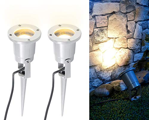 Luminea Erdspieß-Strahler: 2er-Set Indoor-Pflanzenstrahler, einflammig, GU10, grau 1,5 m Kabel X (Pflanzenstrahler innen LED)