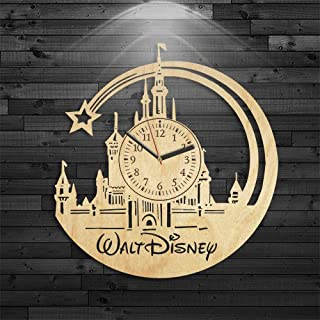 Walt Disney Wooden Clock, Little Mermaid Wood Clock, Mickey Mouse Wooden Clock, Disney Birthday Gift, Wall Clock Modern, Cartoon Gift For Kids, Wall Clock Vintage, Walt Disney Gift For Girl