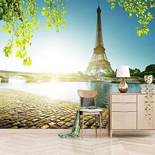 Mural de paisaje de cielo azul de Torre Eiffel, decoración del hogar de la ciudad, dormitorio, Mural para habitación de niños, papel tapiz, pintura de simulación-250X175cm
