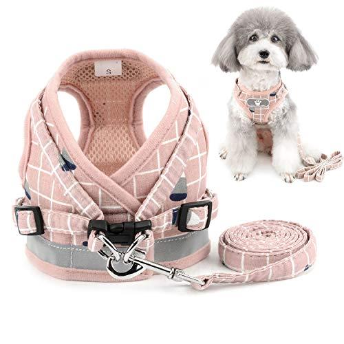 Zunea Hundegeschirr Kleine Hunde Welpen Verstellbar Reflektierend kein Ziehen Brustgeschirre mit leine für Chihuahua Puppia, Netz gepolstert ausbruchsicher Katzen Geschirr Rosa xs