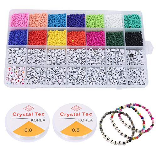 Pulluo 5000pcs Perline Colorate Mini Glass Beads Set 3mm et Perline Lettere 8mm e Perline Perline Colorate per Braccialetti Gioielli Bigiotteria Fai da Te