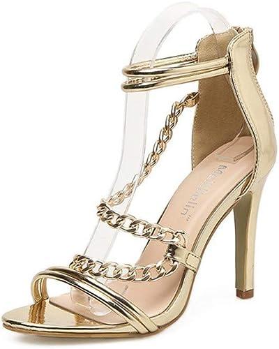 zapatos De Tacón Las mujeres Europeas Y Americanas Hacen PU Sexy 9.5Cm Moda Sandalias De Tacón Alto zapatos Sexy