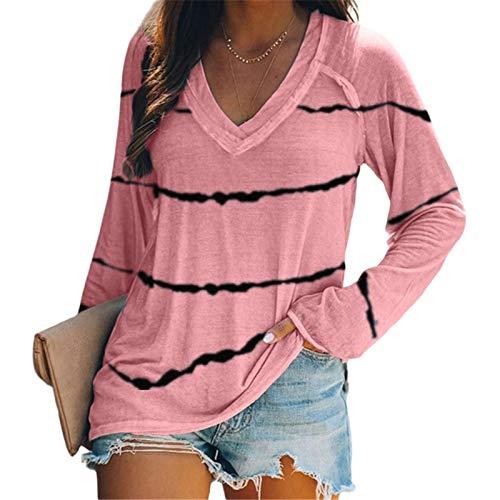 Zilosconcy Camiseta de Mujer Blusa Suelto Verano Algodón T-Shirt Tops de Encajes Mujer otoño Plus Size Moda Raya Casual Caminar Diario
