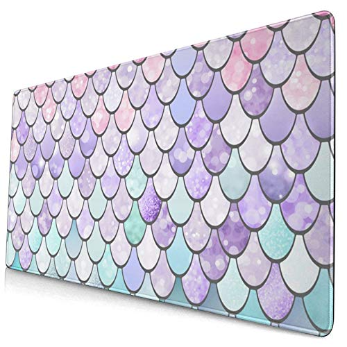 Customized Gaming Mouse Pad,Mermaid Pastel Pink Purple Aqua Teal Customized Rectangular Non-Slip Rubber Mouse Pad 15.8 X 29.5 in,Durable Computer Desk Stationery Accessories,Gifts,Mouse Pads