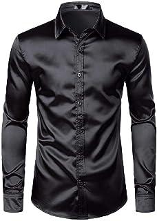 U/A Uomo Nero Raso Camicie di Seta Liscia Uomini Smoking Camicia Slim Fit Festa di Nozze Prom Camicia Casual Chemise Homme