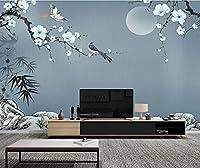 HGFHGD 手描きの石竹葉梅の花3Dリビングルーム壁画テレビ背景壁紙家の装飾壁紙ウォールステッカーウォールアート