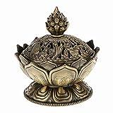 Vientiane Lotus Form Räuchergefäß, Mini Metall Aromatherapie Halter Weihrauchbrenner, Herd Rückfluss Räuchergefäß für Dekoration Geschenk Zubehör (7 x 7 cm)