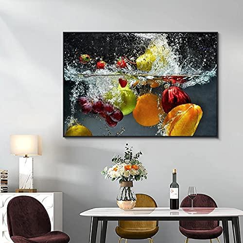 Frutas y verduras frescas en el agua Impresión de póster Decoración Arte de la pared para el hogar Decoración de la cocina Sala de estar Pintura en lienzo 21x30cm (8x12in) Sin marco