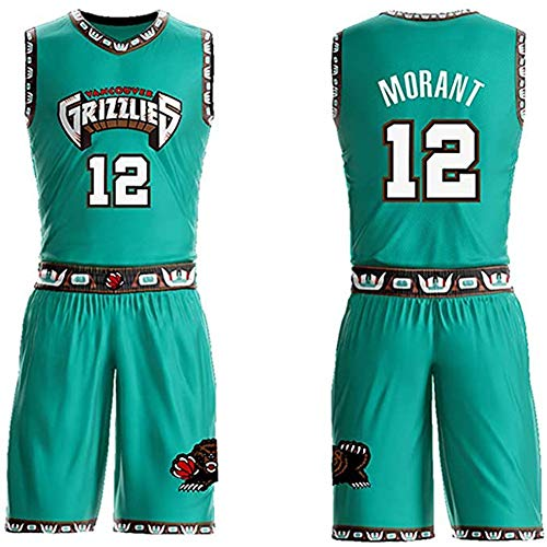 BHHT Jersey Set Ja Morant Kids Basketball Jersey, Grizzlies NO.12 Basketball Shirt Vest Top Summer Shorts Set for Boys and Girls (Color : Green, Size : M(155.160CM))