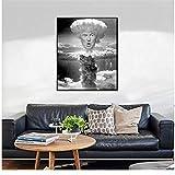 NRRTBWDHL Donald Trump Mushroom Cloud Schwarz Weiß Poster