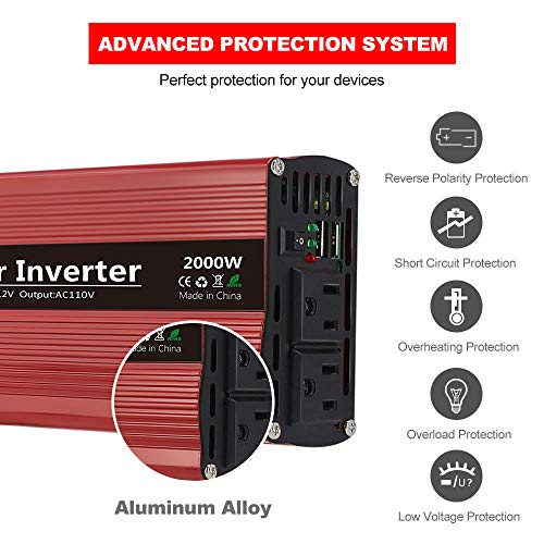 imoli 2000W Power Inverter, DC to AC 12V to 110V/120V, 4000W (Peak) Car Converter Automotive Modified Sine Wave Type with 2 Outlets and 2 USB Charging Ports