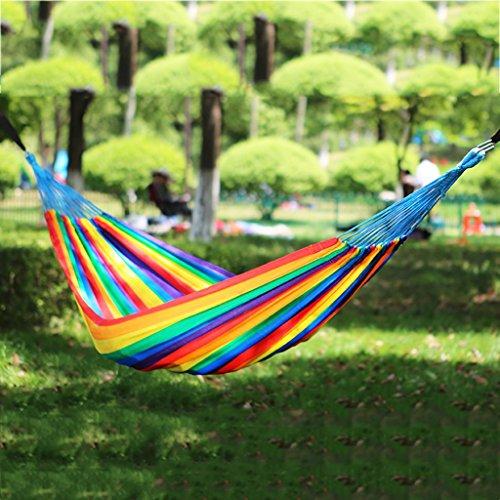 Hamacs Balcon dortoir Double extérieur balançoire Jardin Jardin et Patio (Color : Seven Colors, Size : 310 * 140cm)