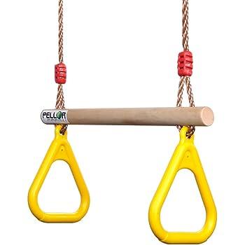 COMINGFIT/® Multi-Fonction Trap/èze Balan/çoire en Bois avec Gymnastique Anneaux en Platique pour Enfants