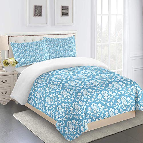GZMSOL Duvet Cover Set Single Size - Bedding Set Blue Pattern Flower 3 Pcs With Zipper Closure 200X200Cm With 2 Pillow Covers 50X75Cm Ultra Soft Hypoallergenic Microfiber Quilt Cover Sets