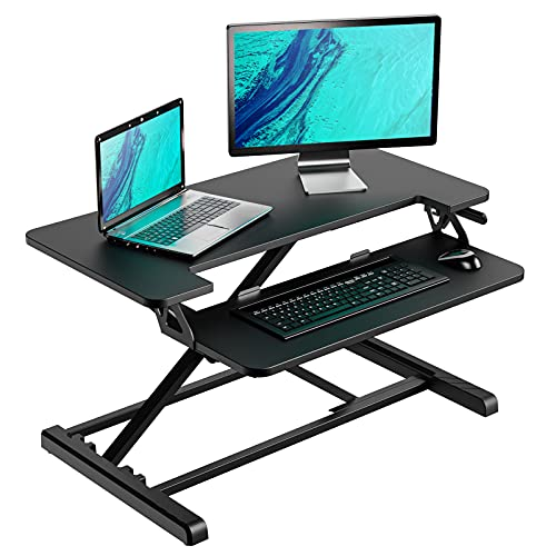 Standing Desk Converter with Height Adjustable – 32 inch Stand Up Desk, Ergonomic Sit Stand Dual Monitor and Laptop Riser Tabletop Workstation Black