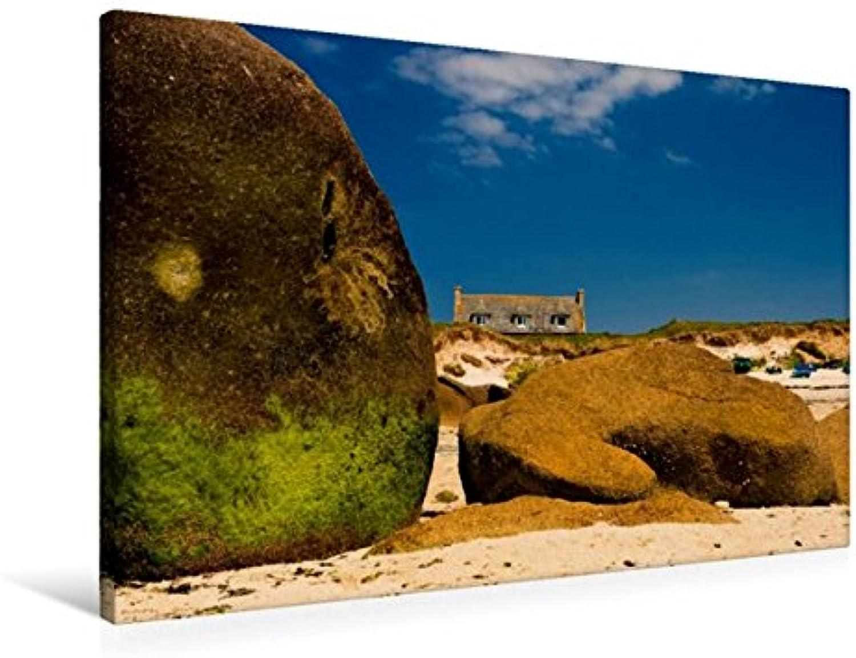 Calvendo Premium Textil-Leinwand 90 cm x 60 cm quer, Am Strand vom Guisseny   Wandbild, Bild auf Keilrahmen, Fertigbild auf echter Leinwand, Leinwanddruck Orte Orte