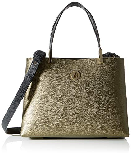 Tommy Hilfiger - Th Core Med Satchel, Bolsos maletín Mujer, Multicolor (Gold Metalic & Black), 11.5x0.1x28 cm (W x H L)