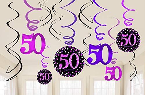 amscan 9900613 Glitzernde rosa Hängedekoration zum 50. Geburtstag (12 Stück) – 1 Packung, rose