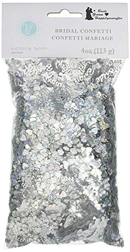 Darice VL84 Happily Ever After Bridal Confetti, 4-Ounce, Silver