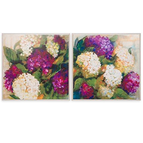 Belssia Cuadro con Diseño Hortensias, Madera, Multicolor, 83x2x83 cm