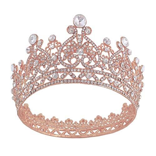 FRCOLOR Corona de Cristal Redonda Completa Coronas Redondas Tiara Nupcial de Diamantes...