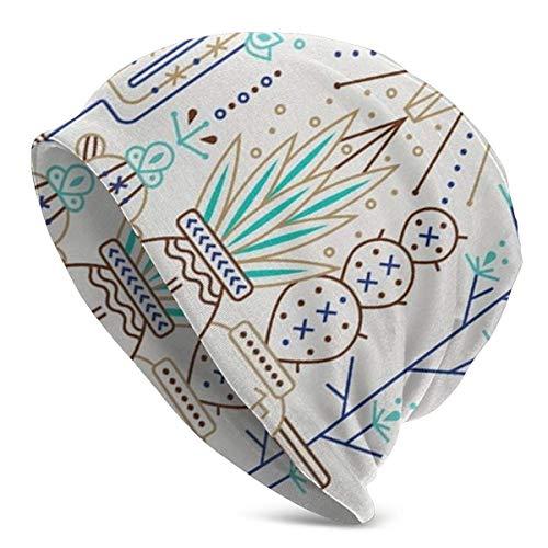 Viplili Gorro de Abrigo, Santa Fe Garden Turquoise Brown Slouchy Gorro de Lana for Men Women - Casual Hip-Hop Skull Cap Baggy Gorro de Punto Hip-Hop Winter Hat