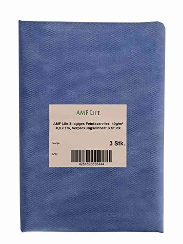 AMF Life 3-lagiges Feinfaser-Vlies zur Herstellung von Stoffmasken, Gesichtsmasken, 40g/m², 0,8x1m, 3 Stück, MedicalBlau