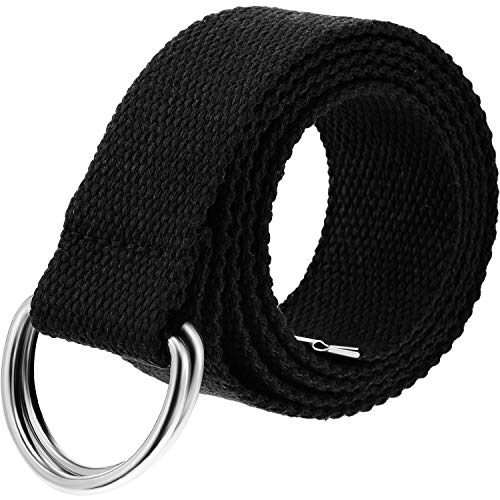 Thin Web Canvas Belt Double D-ring Belt Extra Long with Metal Tip for Men Women
